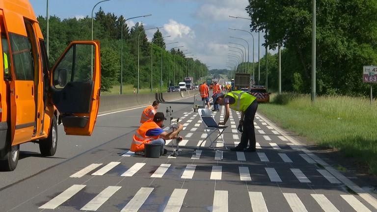 Baillonville : on teste les marquages routiers de demain