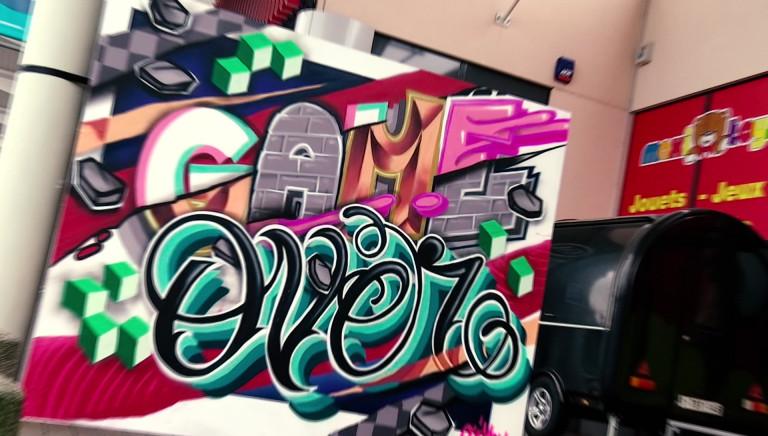 Street art au centre commercial Hydrion: de la couleur dans la grisaille actuelle!