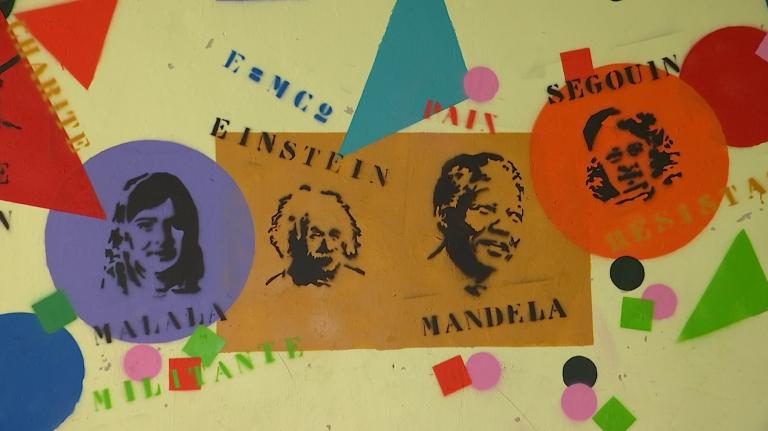 Houffalize : des personnalités inspirantes pochées sur le préau de l'école