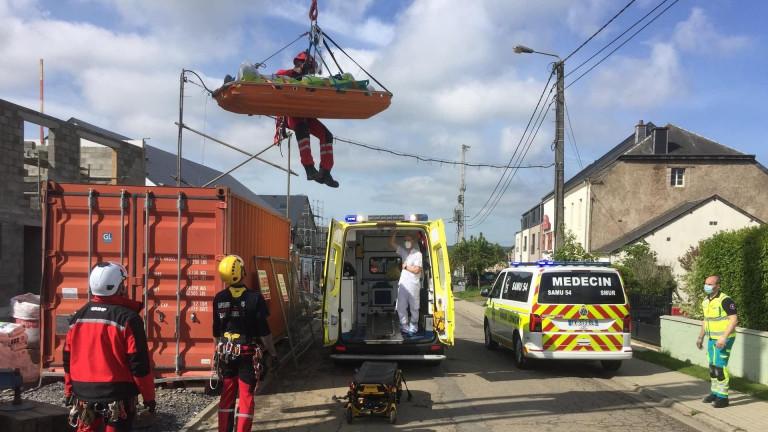Aix-sur-Cloie. Le GRIMP intervient sur un accident de chantier